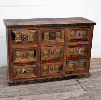 kh20 172 indian furniture chest 9 drawers reclaimed buddha angle