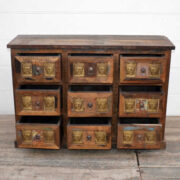 kh20 172 indian furniture chest 9 drawers reclaimed buddha open