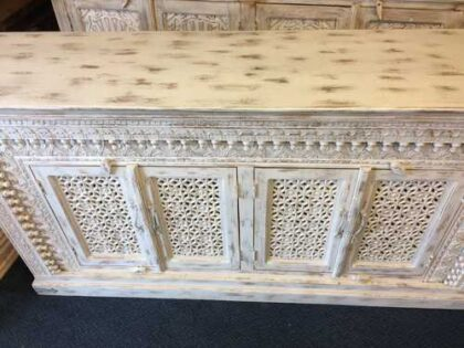 K73 90700 indian furniture sideboard large stylish carved white top