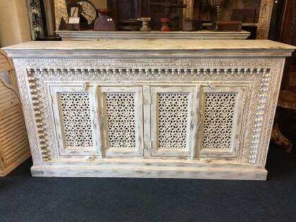 K73 90700 indian furniture sideboard large stylish carved white front