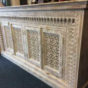 K73 90700 indian furniture sideboard large stylish carved white right