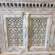 K73 90700 indian furniture sideboard large stylish carved white close left