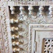 K73 90700 indian furniture sideboard large stylish carved white close up
