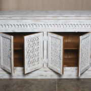 K73 90700 indian furniture sideboard large stylish carved white open