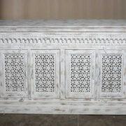K73 90700 indian furniture sideboard large stylish carved white showroom front