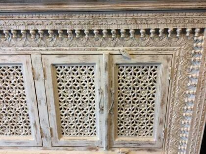 K73 90700 indian furniture sideboard large stylish carved white close right