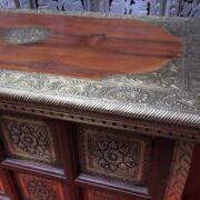k73 3646m indian furniture trunk sheesham embossed persian embossed