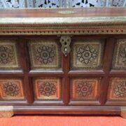 k73 3646m indian furniture trunk sheesham embossed persian close front