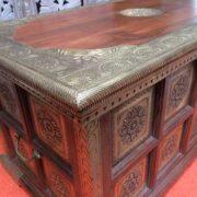 k73 3646m indian furniture trunk sheesham embossed persian close corner
