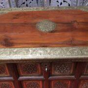 k73 3646m indian furniture trunk sheesham embossed persian top edge