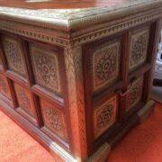 k73 3646m indian furniture trunk sheesham embossed persian edge