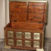 k73 3646m indian furniture trunk sheesham embossed persian open
