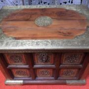 k73 3646s indian furniture trunk storage small persian embossed front top