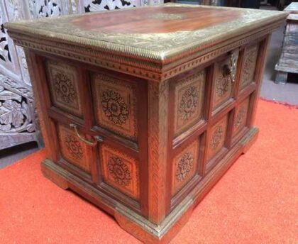 k73 3646s indian furniture trunk storage small persian embossed angle