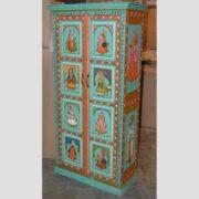 k74 13 indian furniture cabinet hand painted figures aquamarine main