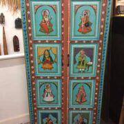 k74 13 indian furniture cabinet hand painted figures aquamarine front