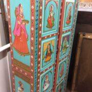 k74 13 indian furniture cabinet hand painted figures aquamarine figure side