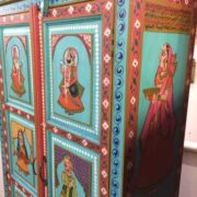 k74 13 indian furniture cabinet hand painted figures aquamarine figure edge
