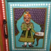 k74 13 indian furniture cabinet hand painted figures aquamarine figure 3