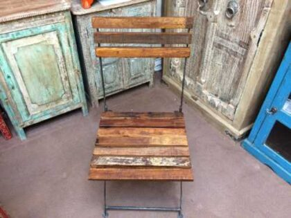 k74 2498 indian furniture chair folding reclaimed iron front