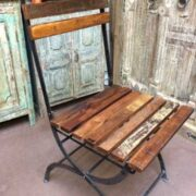 k74 2498 indian furniture chair folding reclaimed iron side