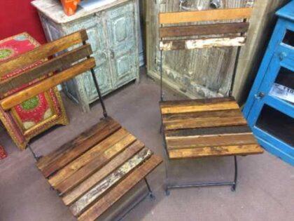 k74 2498 indian furniture chair folding reclaimed iron pair