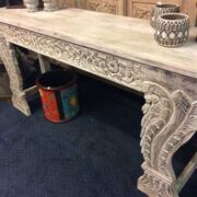 k74 3709 indian furniture console table white carved front right