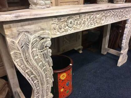 k74 3709 indian furniture console table white carved front left
