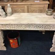k74 3709 indian furniture console table white carved front top