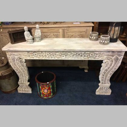 k74 3709 indian furniture console table white carved front main