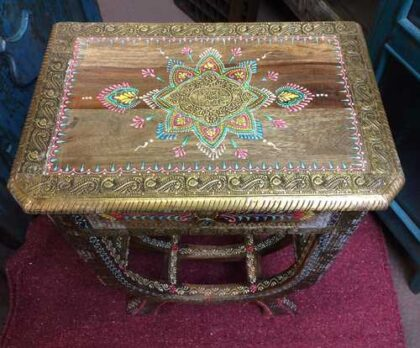 k74 62 indian furniture side table hand painted unique top