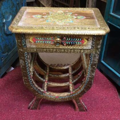 k74 62 indian furniture side table hand painted unique front