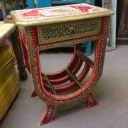 k74 63 indian furniture side table hand painted unique red side