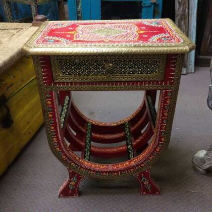 k74 63 indian furniture side table hand painted unique red front