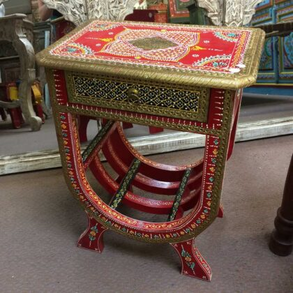 k74 63 indian furniture side table hand painted unique red main