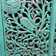 k74 79 indian furniture sideboard carved agua green close left