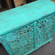 k74 79 indian furniture sideboard carved agua green top left