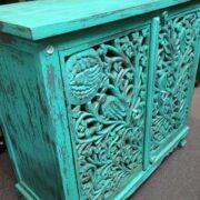 k74 79 indian furniture sideboard carved agua green left