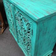 k74 79 indian furniture sideboard carved agua green right