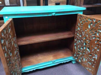 k74 79 indian furniture sideboard carved agua green open