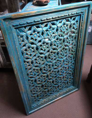k74 90 indian accessories wall panel agua green carved star left