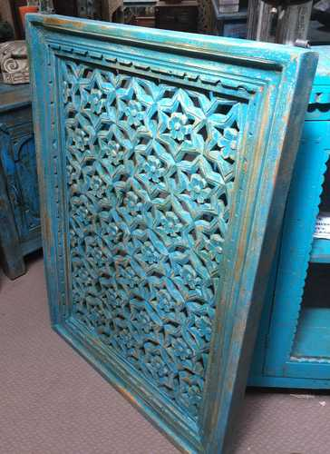 k74 90 indian accessories wall panel agua green carved star right