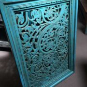 k74 91 indian accessories wall panel agua green carved lower arch side