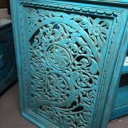k74 92 indian accessories wall panel agua green carved upper arch side