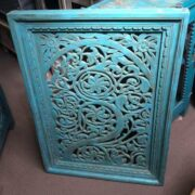 k74 92 indian accessories wall panel agua green carved upper arch front