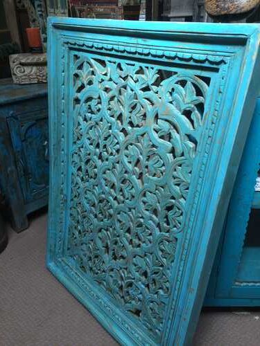 k74 94 indian accessories wall panel agua green carved leaf diamond side