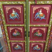 k74 3 indian furniture cabinet hand painted red elephant front close