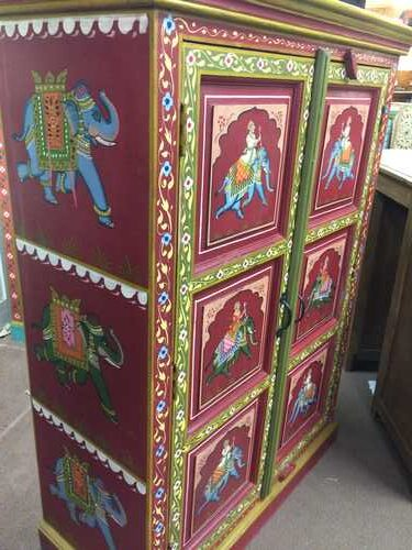 k74 3 indian furniture cabinet hand painted red elephant left