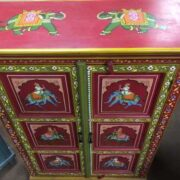 k74 3 indian furniture cabinet hand painted red elephant top