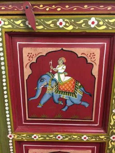 k74 3 indian furniture cabinet hand painted red elephant close ele